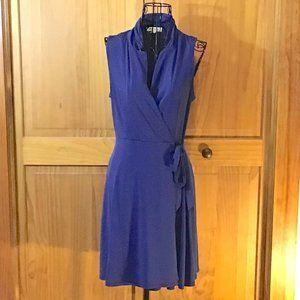 Navy Blue Sleeveless Wrap Dress